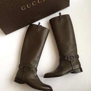 Black Gucci Riding Boots with original box